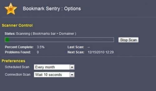Проверка наличия мёртвых и дублирования закладок Bookmark Sentry для Chrome.