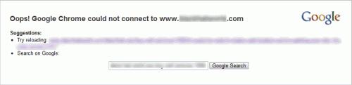 Сообщение Oops! Google Chrome не смог подключиться.