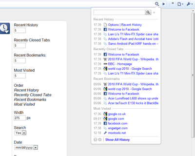 Быстрый доступ к посещенным веб-сайтам для Chrome.