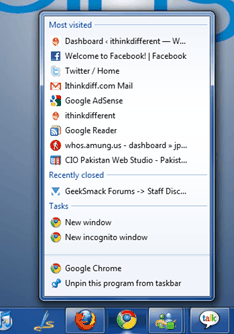 Google Chrome Jumplists для Windows 7.