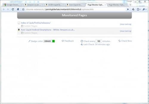 Мониторинг веб-сайтов в Google Chrome.