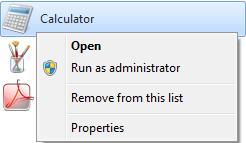 Отсутствующие контекстное меню и Jump Lists в Windows 7.