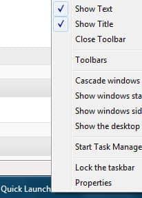 Как включить или отключить панель быстрого запуска в Windows 7.