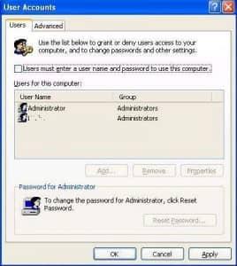 Автоматический вход в Windows XP.