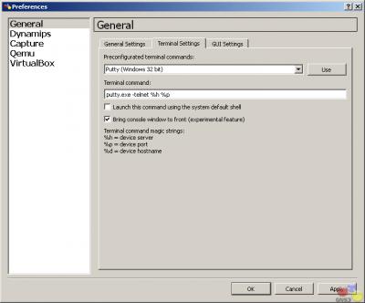 Использование терминала программы GNS3.