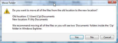 Перенос пользовательских файлов и папок в другой раздел.