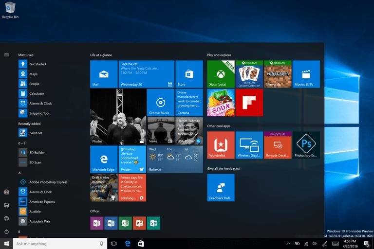 Рабочее окно Windows 10